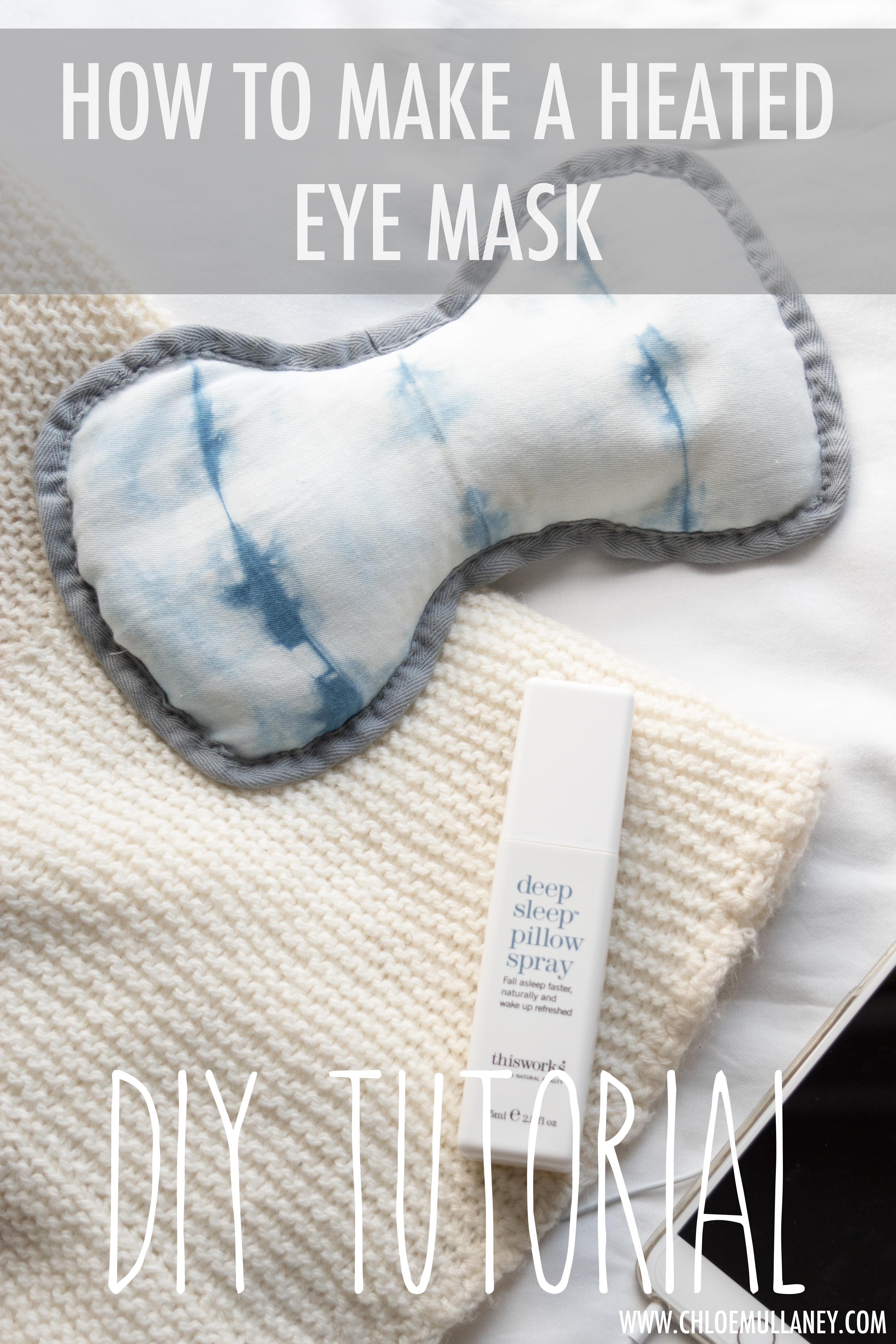 Image shows a handmade heated eye mask made of hand-dyed shibori fabric promoting a tutorial designed to enable people to create this product at home.